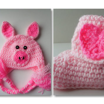 Baby Pig and Booties  Set - Piggy Baby Hat - Photo Prop - Pink Baby Set - Booties with Pink Hearts - Handmade Crochet - Made to Order