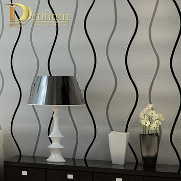 Simple Modern 3D Stereoscopic Wall paper Bedroom Living room Walls Silver Black and White Striped Wallpaper Designs R618