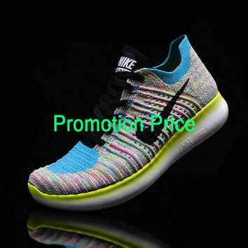 2018 New WMNS Nike Free RN Flyknit Multi Color Hyper Jade Turquoise fashion shoe