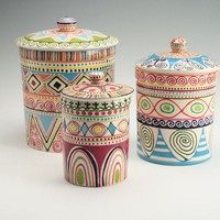 Bohemian Canister Set Multicolor with Lids Diamonds Stripes Dots Circles Hand Painted