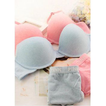 Victoria's Secret PINK Comfortable sports bra cotton underwear set back together