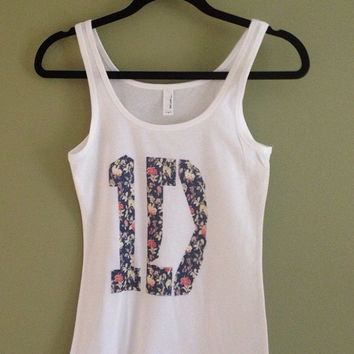 One Direction Flowers Women's Fitted Tank Top