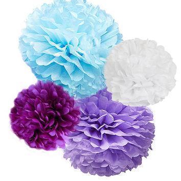 Frozen Tissue Paper Pom Poms 4 Piece Set Blue, Lavende, White and Plum - Decorations |Birthday | Nursery | Disney Frozen Theme Party