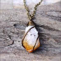 Rough Citrine Necklace - Raw Stone Jewelry - Wire Wrapped Stone Necklace - Gypsy Boho Jewelry - Bohemian Jewelry - Natural Wiccan Necklace
