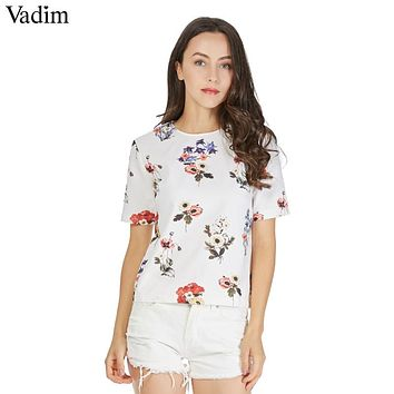 Women sweet floral print loose shirts o neck short sleeve blouse ladies summer fashion casual tops