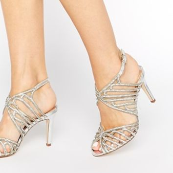 Faith Lombassy Silver Encrusted Heeled Sandals