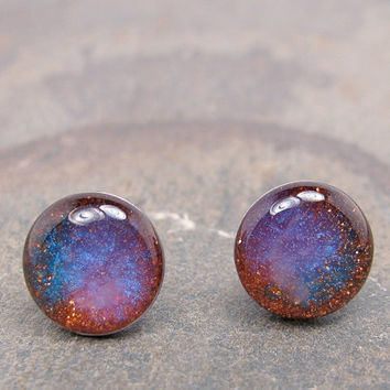 Nebula Blue Shimmer over Copper Glitter Stud Earrings 10 mm round dome post