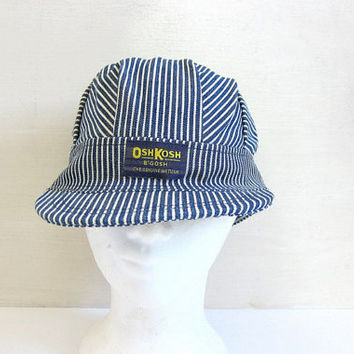 Vintage Osh Kosh B'Gosh Pinstriped Train Engineer Farmer Cap Hat