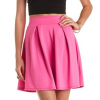Pleated High-Waisted Skater Skirt by Charlotte Russe - Berry