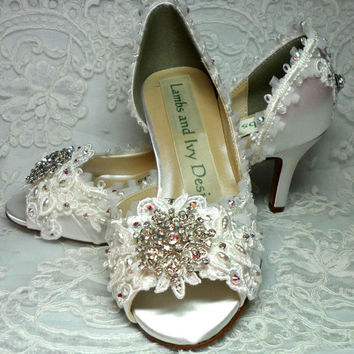 Lace and Crystal  Wedding Shoes Bridal Shoes Princess Bride Fairytale Rhinestone Peep Toe
