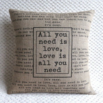 The Beatles Song Quote All You Need Is Love  Hessian Burlap Pillow Cushion Cover 16""