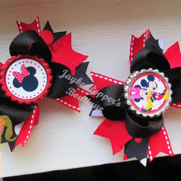 Minnie Mouse hair bows Mickey Mouse bottle cap small over the top boutique hair clip disney girls red black cute winter wonderland vacation
