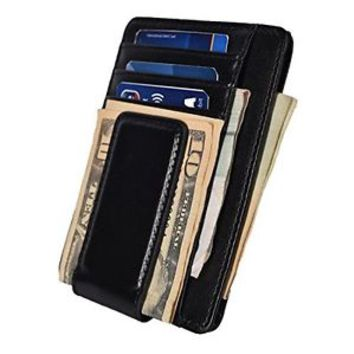 Mens Leather Money Clip Slim Wallets Black ID Credit Card Front Pocket Magnetic
