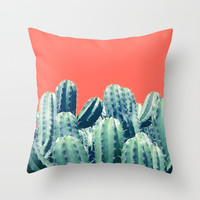 Cactus on Coral #society6 #decor #buyart Throw Pillow by 83 Oranges™