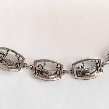 Vintage 7 Inch, Silver Toned Panel Bracelet with Lighthouse Design, Great Detail to this Seascape Motif Bracelet