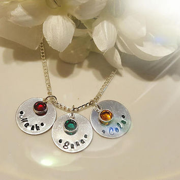 Birthstone Necklace, Personalized Hand Stamped Necklace, Grandma Mother Gift, Mommy Necklace, Gift for Mom, Family Necklace, Mother's Day