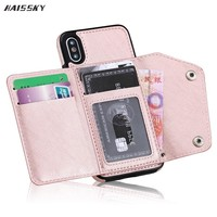 HAISSKY For iPhone 7 8 Plus X Wallet Flip Cover For iPhone 6 6s Plus 7 8Plus Card Leather Case Stand Phone Case Back Fundas