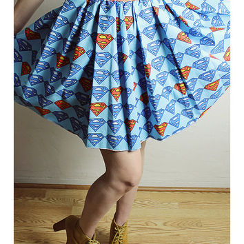 Handmade SUPERMAN Skirt, Handmade Marvel Comic Skirt, Diy Bow High Waisted Skirt, Comic Book clothing, Superman skirt