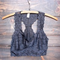 racer back all over lace scalloped bralette in charcoal grey
