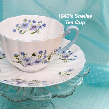 Antique Shelley Tea Cup, Blue Rock, Vintage Tea Cup, Blue Tea Cup and Saucer Set, Shelley China, Birthday Gift