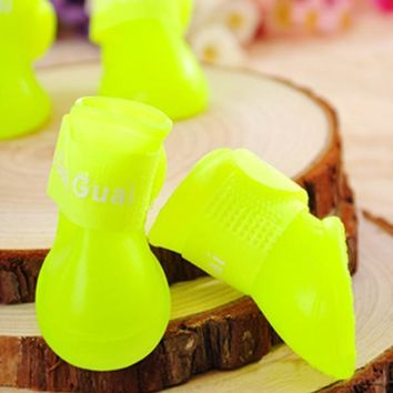 Pet Puppy Candy Colors Waterproof Boots Protective Rubber Rain Shoes Booties