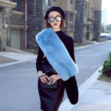 New Autumn Winter Faux Fox Fur Scarf Long Party Pashmina Women Luxurious Soft Smooth Long Wide Scarf Soft Faux Fur Muffler