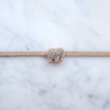 Tan Rose Gold Pave Choker