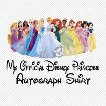 My Official Disney Princesses Autograph Shirt Disney Vacation Trip Printable Digital Iron On Transfer Clip Art DIY Tshirts Instant Download