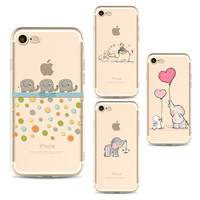 Cute Elephant phone Cases For Iphone 6 6s 6Plus 7 7s 7plus Soft TPU Silicon Ultra-Thin Rabbit love balloon Phone Cover Case