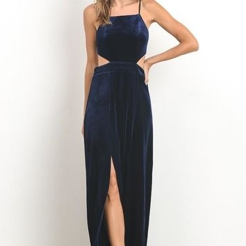 Velvet Cut-Out Open Back Dress
