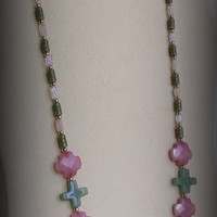 Green Jade and Rose Quartz Necklace with a Sterling Silver Clasp, Smokeylady54