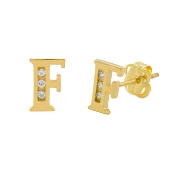 10k Yellow Gold Letter F Initial Stud Earrings Cubic Zirconia 7mm