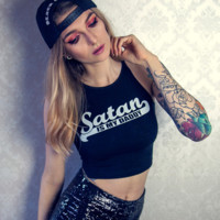 """satan"" print Yoga sports vest crop top sleeveless T-shirt blouse"