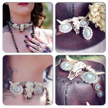 Western Steer leather choker, cowgirl gypsy jewelry