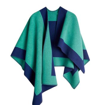 Layla Cape - Blue / Green Color Block