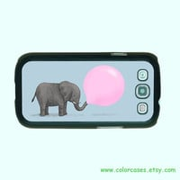 Samsung Galaxy S3 case -- Elephant and Balloon , Samsung galaxy S3 case in plastic ,color in black or white or clear