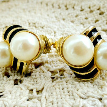 Vintage Black, Pearl & Gold Earrings, Costume Jewelry