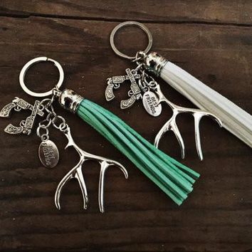 Best Friend Antler and Tassel Keychain Set