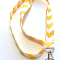 Yellow Chevron Stripe Fabric Lanyard, ID Badge,Cell Phone, Key Holder