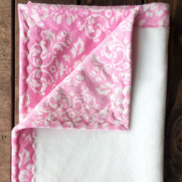 "Damask pink with white minky baby blanket (30"" x 36"")"