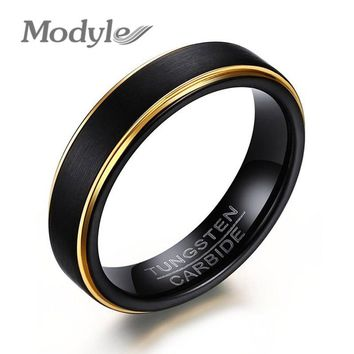Modyle 2017 New Fashion Cool 5MM Black and Gold-Color Tungsten Wedding Ring for Men and Women Jewelry