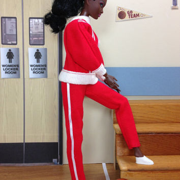 Barbie Doll Jogging Outfit - Handmade Red and White Sweat Suit