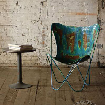 Distressed Blue Iron Butterfly Chair