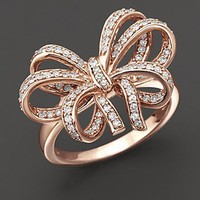 Diamond Bow Ring in 14 Kt. Rose Gold, 0.45 ct. t.w. - Rings - Bloomingdales.com
