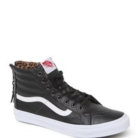 Vans SK8 Slim Zip Leather Sneakers - Womens Shoes - Black