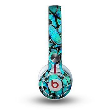 The Turquoise Butterfly Bundle Skin for the Beats by Dre Mixr Headphones