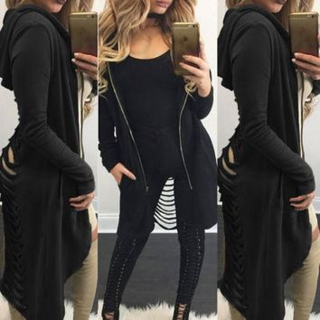 Gothic Women Ladies Cut Out Cardigan Long Ripped Back Hooded Coat 4 Colors