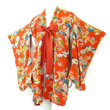 Art Deco Japanese Kimono Orange Rayon Print with Silk Lining White Flying Cranes