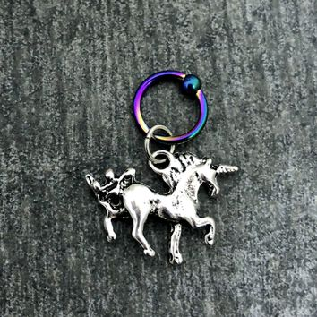 316L Surgical Stainless Solid Steel Unicorn 16g, spring captive ring, Helix, cartilage, tragus earring