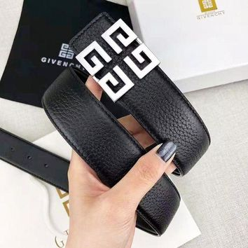 Silver Givenchy Fashion New Pattern Buckle Leather Women Men Leisure Belt